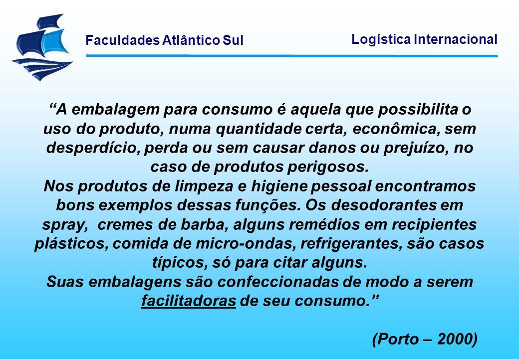 A embalagem para consumo é aquela que possibilita o uso do produto, numa quantidade certa, econômica, sem desperdício, perda ou sem causar danos ou prejuízo, no caso de produtos perigosos.