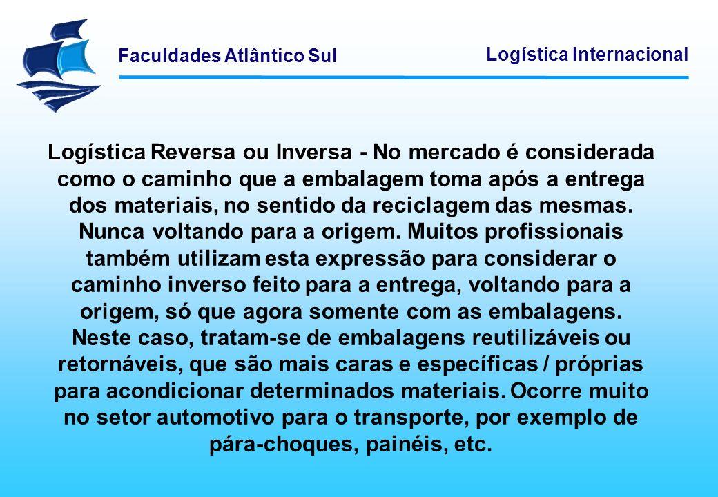 Logística Reversa ou Inversa - No mercado é considerada como o caminho que a embalagem toma após a entrega dos materiais, no sentido da reciclagem das mesmas.