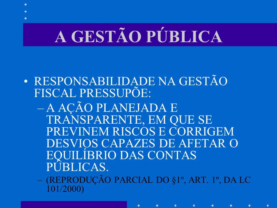 A GESTÃO PÚBLICA RESPONSABILIDADE NA GESTÃO FISCAL PRESSUPÕE: