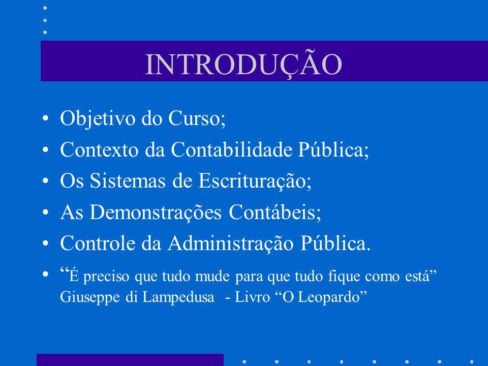 INTRODUÇÃO Objetivo do Curso; Contexto da Contabilidade Pública;