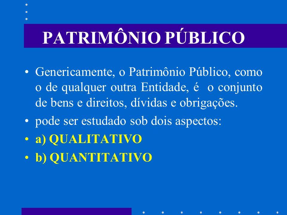 PATRIMÔNIO PÚBLICO Genericamente, o Patrimônio Público, como o de qualquer outra Entidade, é o conjunto de bens e direitos, dívidas e obrigações.