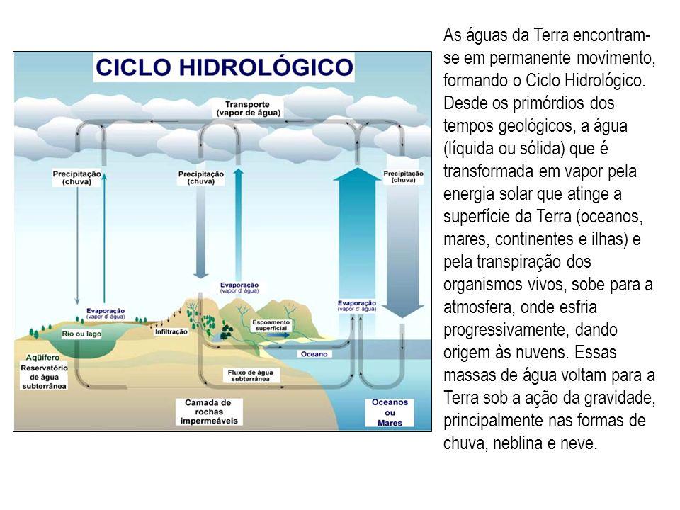 As águas da Terra encontram-se em permanente movimento, formando o Ciclo Hidrológico.