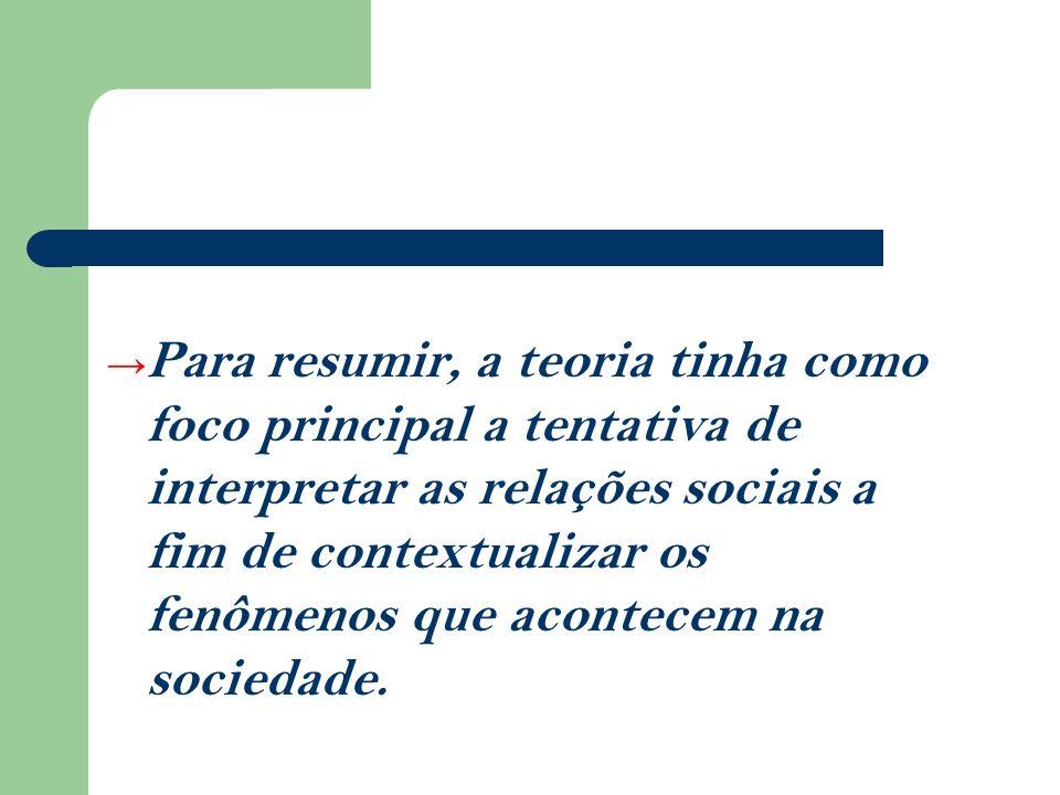 Para resumir, a teoria tinha como foco principal a tentativa de interpretar as relações sociais a fim de contextualizar os fenômenos que acontecem na sociedade.
