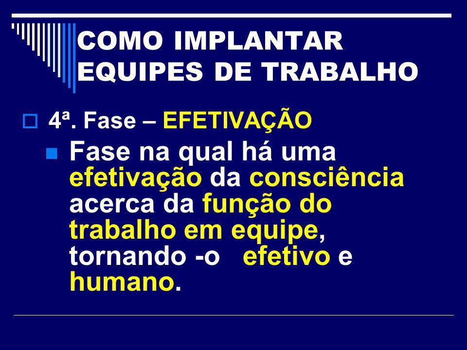COMO IMPLANTAR EQUIPES DE TRABALHO