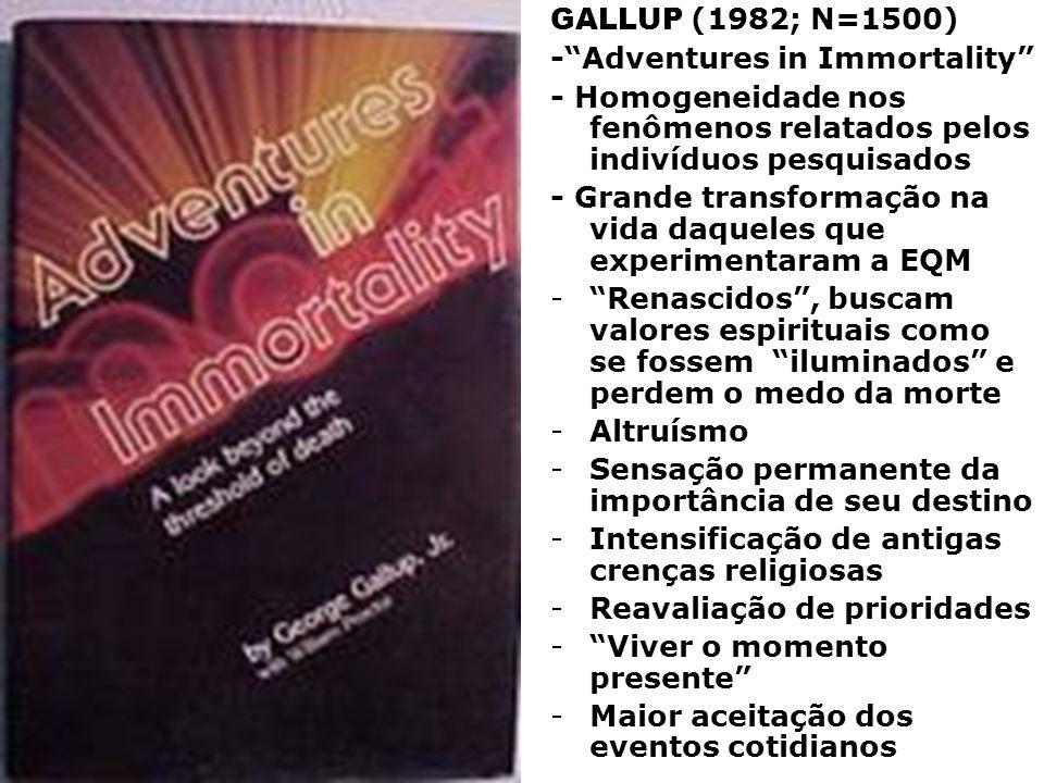 GALLUP (1982; N=1500)- Adventures in Immortality - Homogeneidade nos fenômenos relatados pelos indivíduos pesquisados.