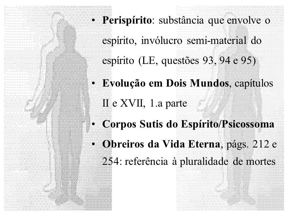 Perispírito: substância que envolve o espírito, invólucro semi-material do espírito (LE, questões 93, 94 e 95)