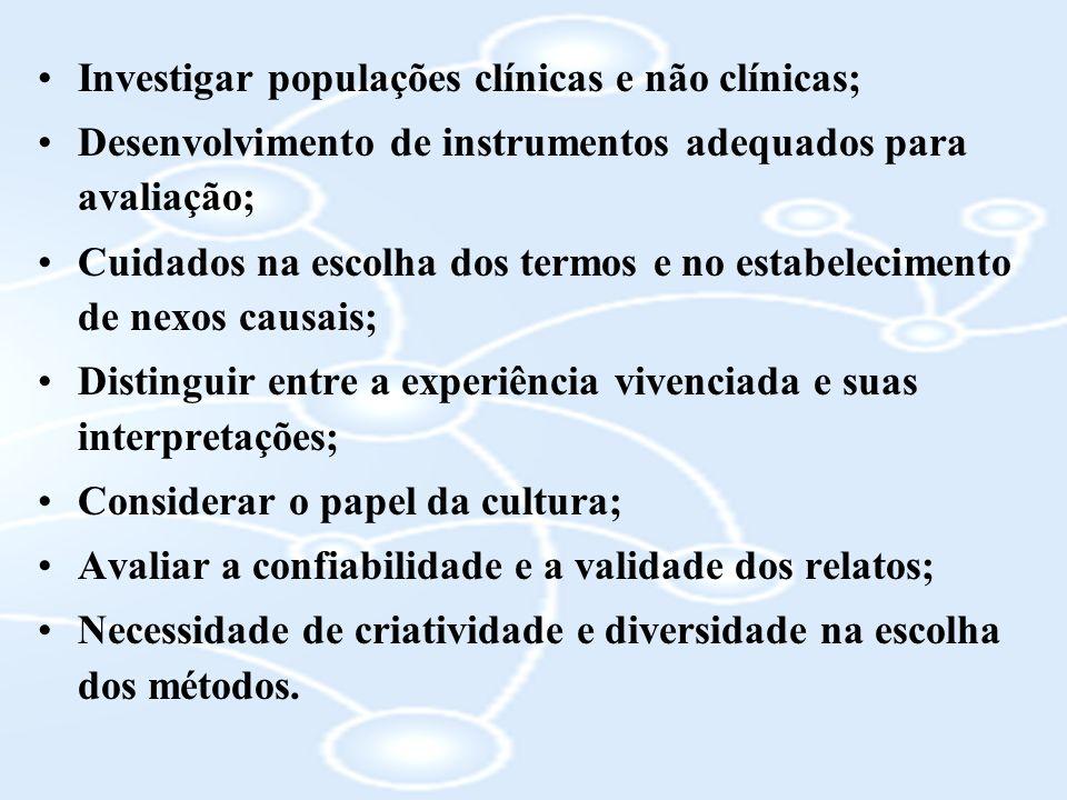 Investigar populações clínicas e não clínicas;