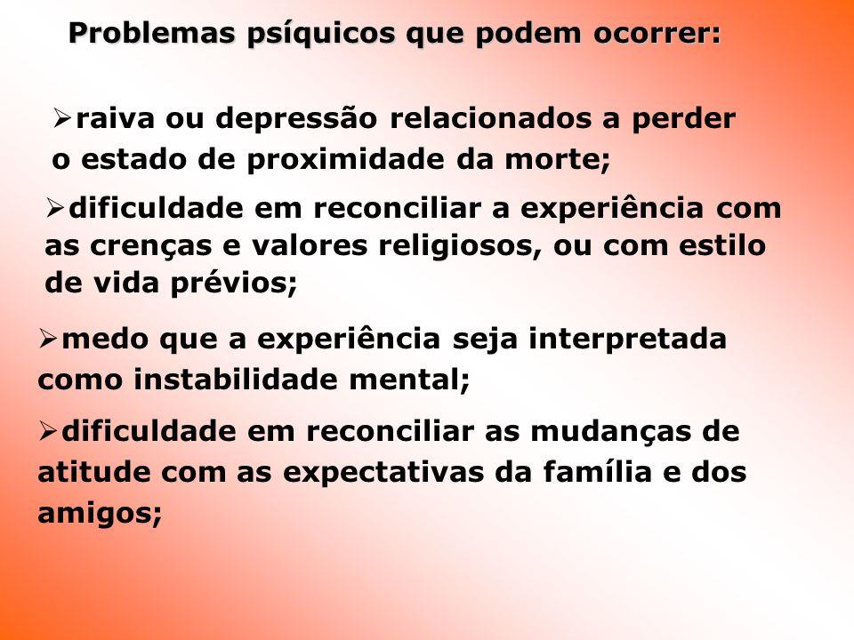Problemas psíquicos que podem ocorrer: