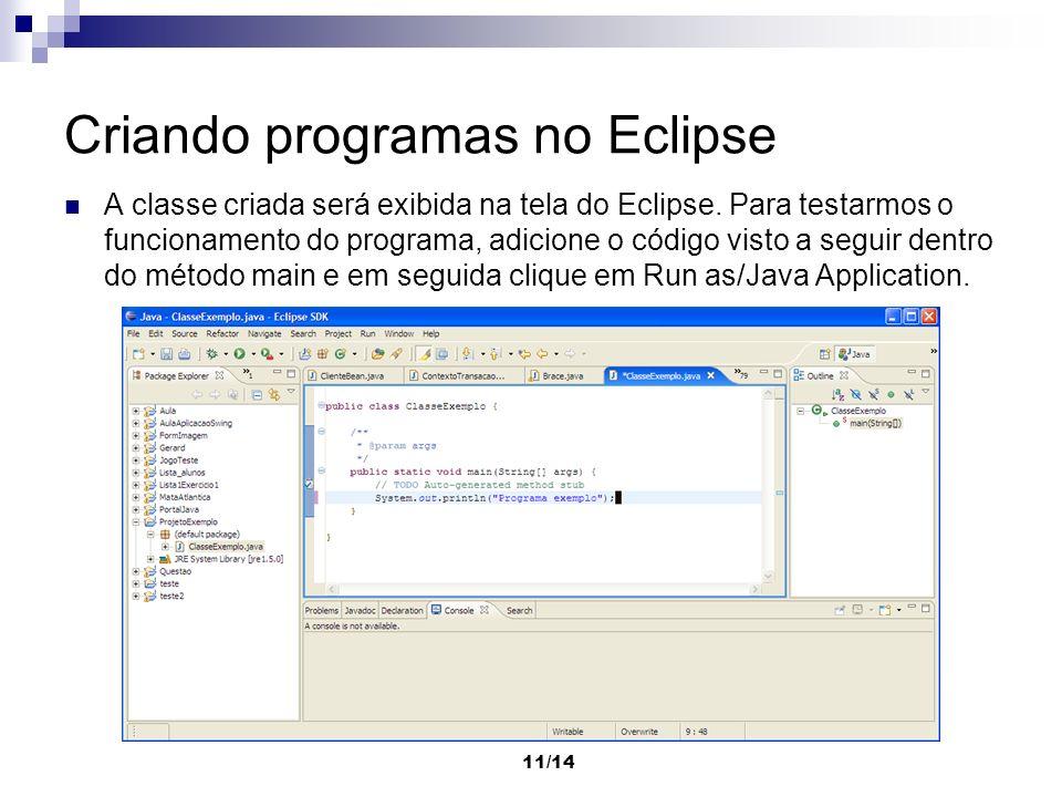 Criando programas no Eclipse