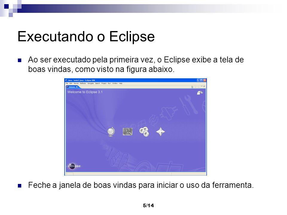 Executando o Eclipse Ao ser executado pela primeira vez, o Eclipse exibe a tela de boas vindas, como visto na figura abaixo.