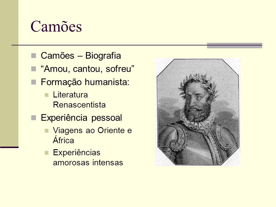 Camões Camões – Biografia Amou, cantou, sofreu Formação humanista: