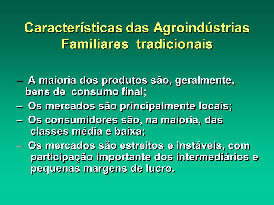 Características das Agroindústrias Familiares tradicionais