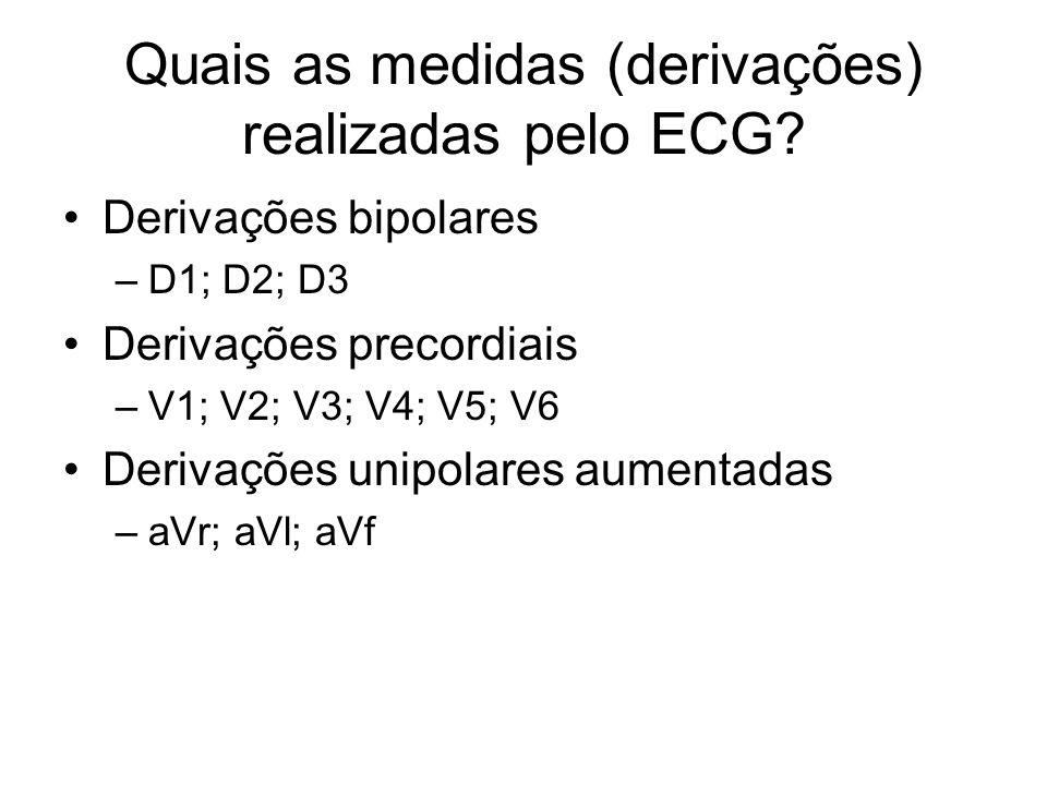 Quais as medidas (derivações) realizadas pelo ECG