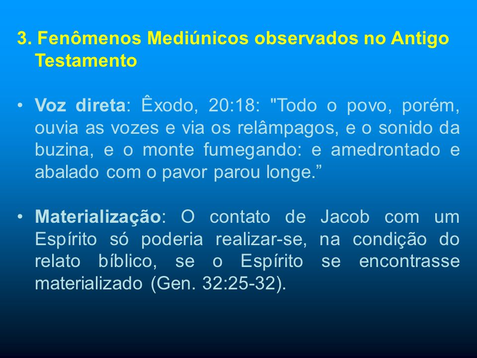 3. Fenômenos Mediúnicos observados no Antigo Testamento