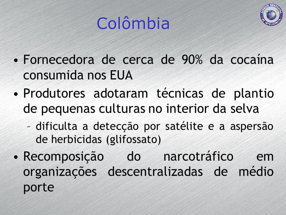 Colômbia Fornecedora de cerca de 90% da cocaína consumida nos EUA