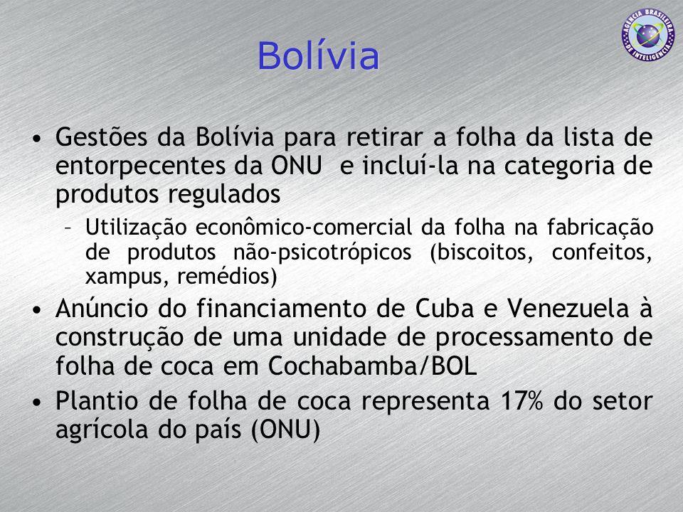 Bolívia Gestões da Bolívia para retirar a folha da lista de entorpecentes da ONU e incluí-la na categoria de produtos regulados.
