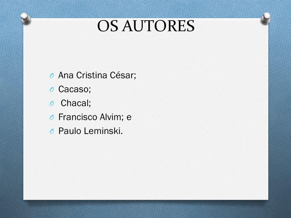 OS AUTORES Ana Cristina César; Cacaso; Chacal; Francisco Alvim; e