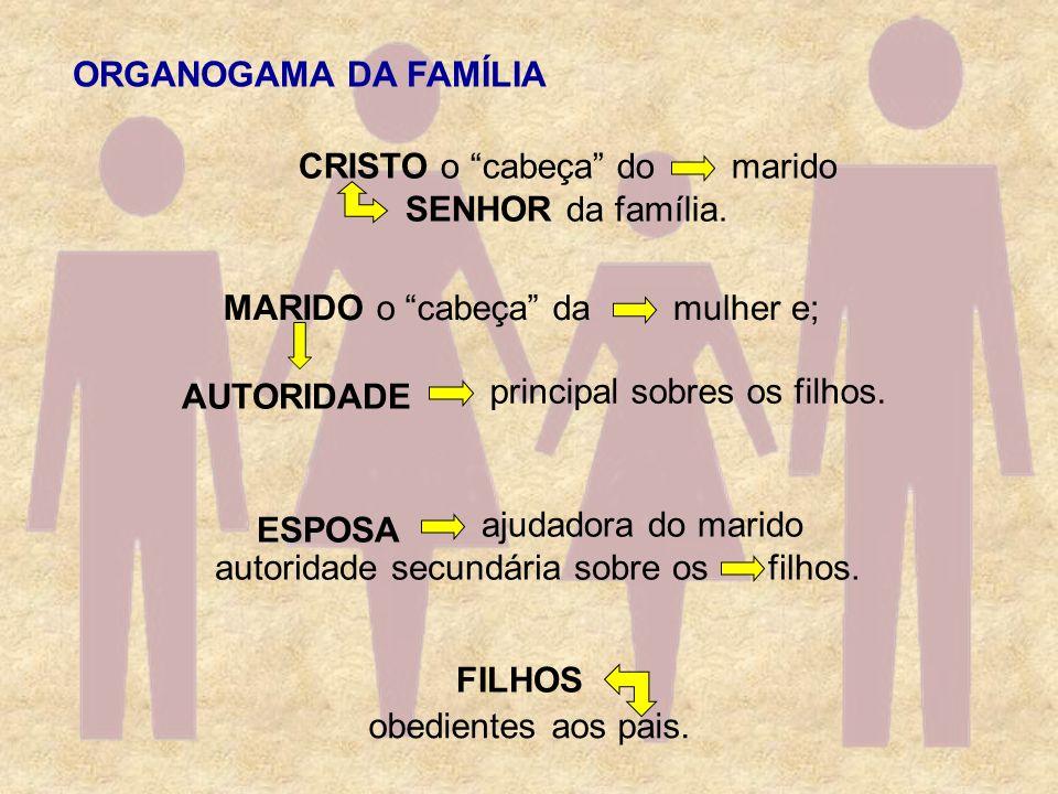 ORGANOGAMA DA FAMÍLIACRISTO o cabeça do. SENHOR da família. marido. MARIDO o cabeça da. mulher e;