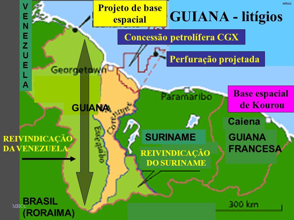 GUIANA - litígios Projeto de base espacial Concessão petrolífera CGX
