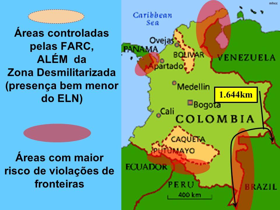 Áreas com maior risco de violações de fronteiras