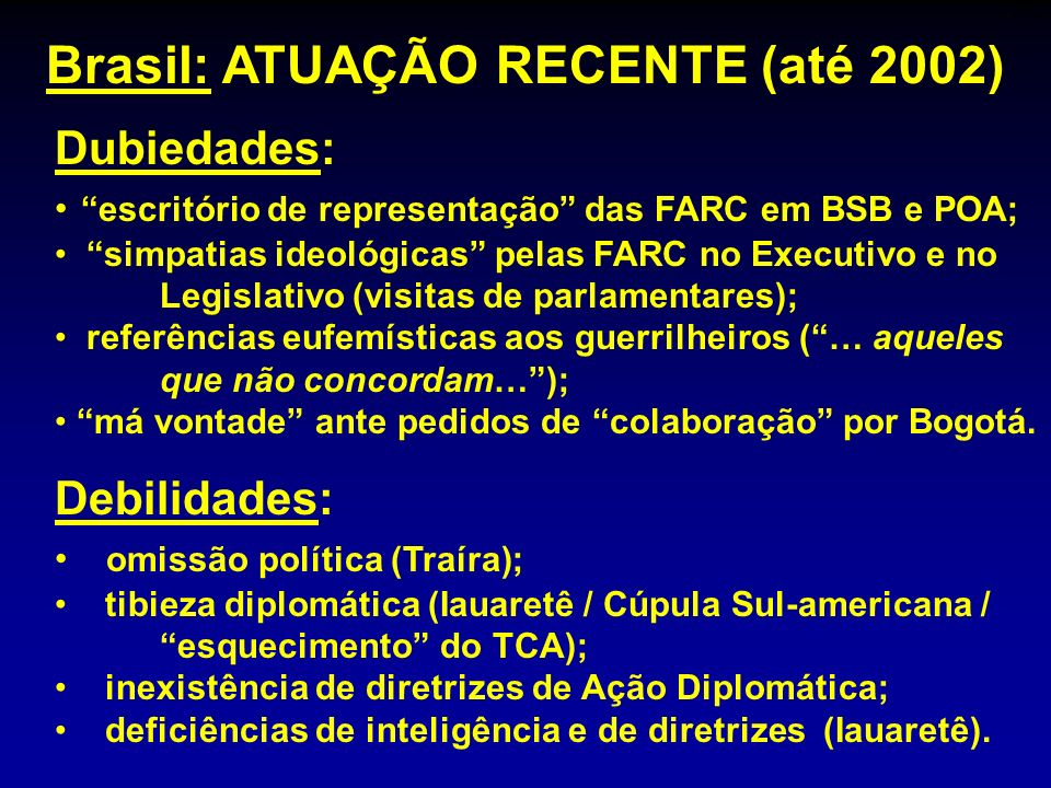 Brasil: ATUAÇÃO RECENTE (até 2002)