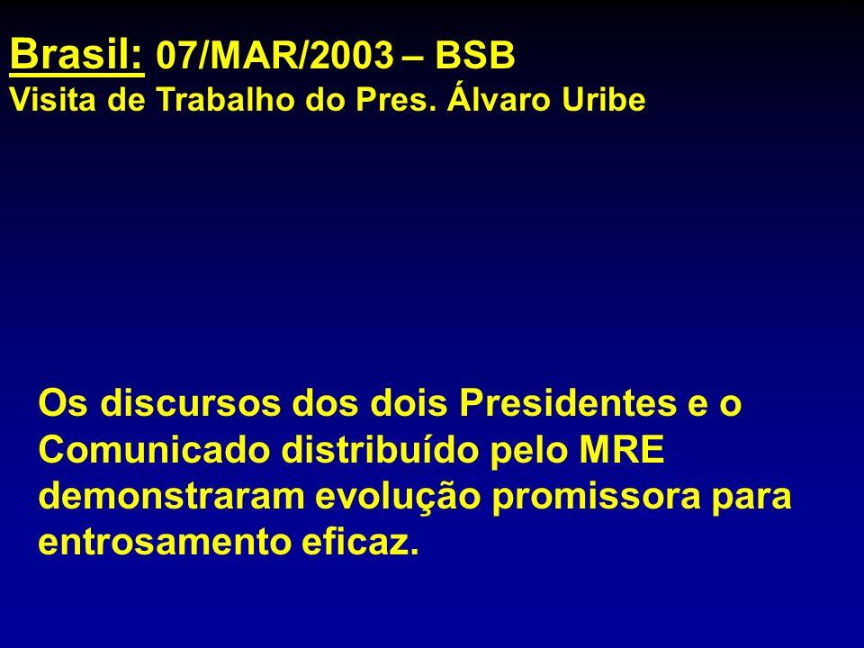 mhcc Brasil: 07/MAR/2003 – BSB. Visita de Trabalho do Pres. Álvaro Uribe.