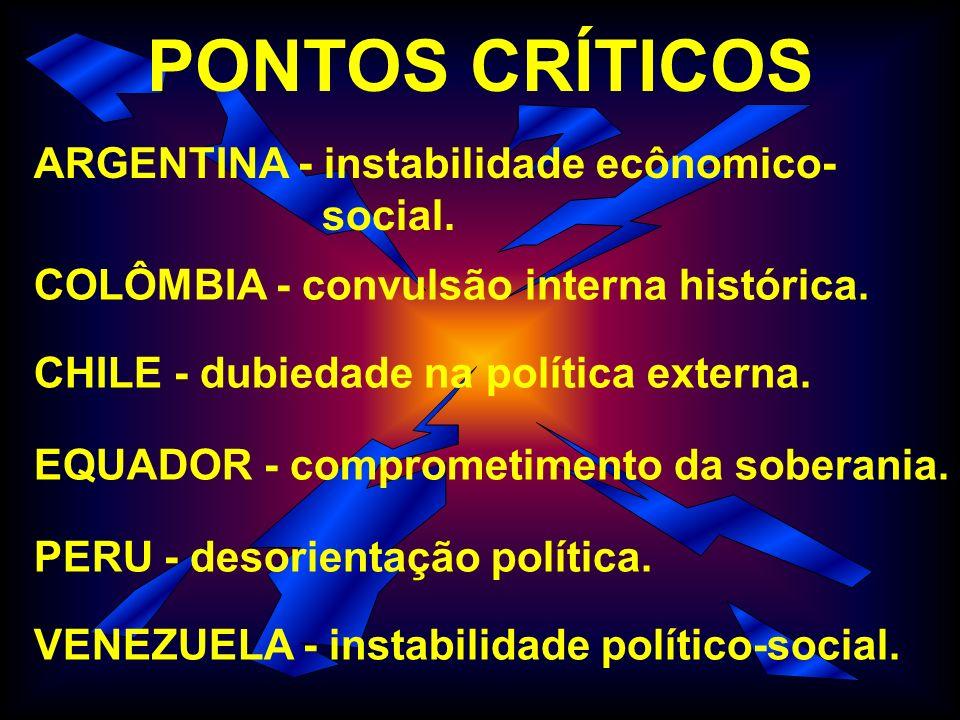 PONTOS CRÍTICOS ARGENTINA - instabilidade ecônomico- social.