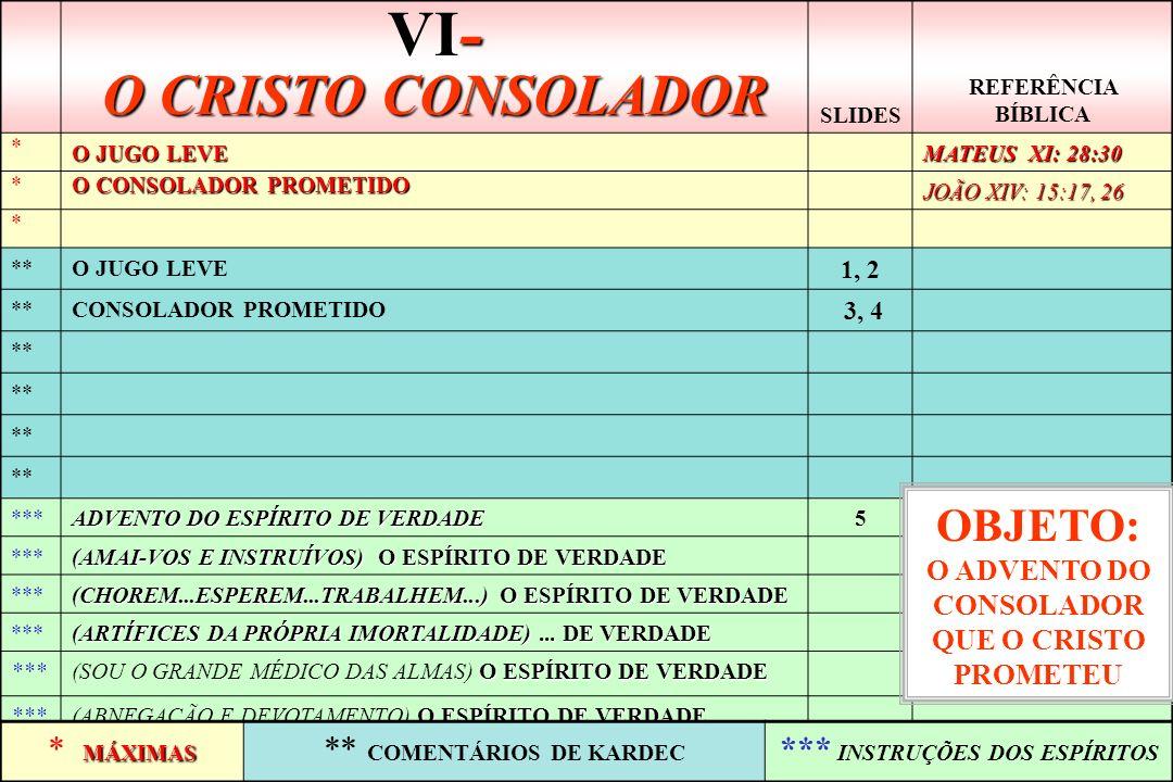 VI- O CRISTO CONSOLADOR