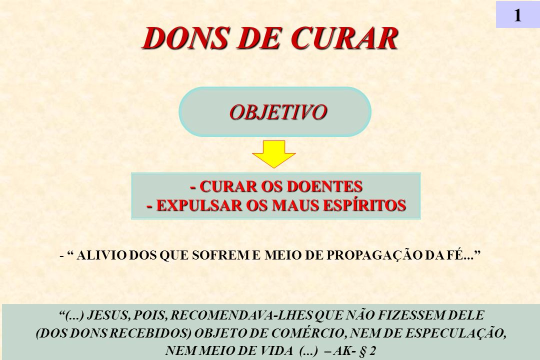 1 DONS DE CURAR. OBJETIVO. - CURAR OS DOENTES - EXPULSAR OS MAUS ESPÍRITOS.