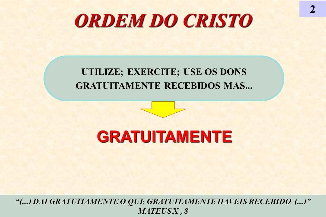 UTILIZE; EXERCITE; USE OS DONS GRATUITAMENTE RECEBIDOS MAS...