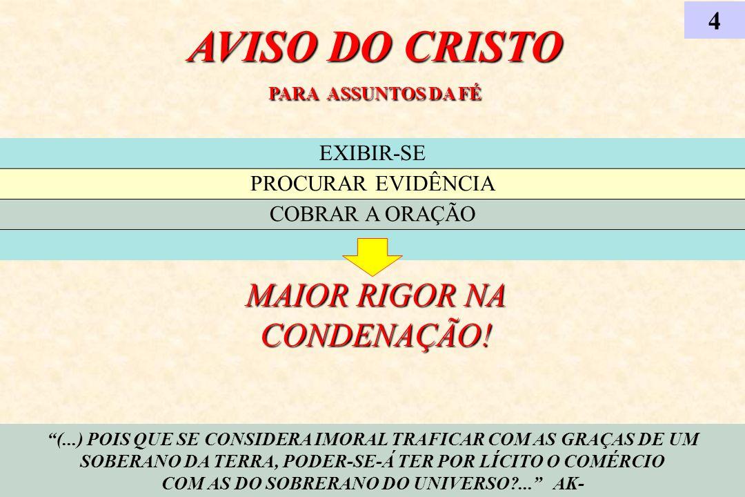 AVISO DO CRISTO PARA ASSUNTOS DA FÉ