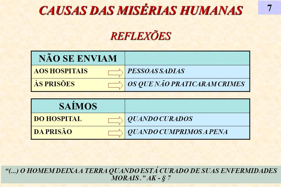 CAUSAS DAS MISÉRIAS HUMANAS