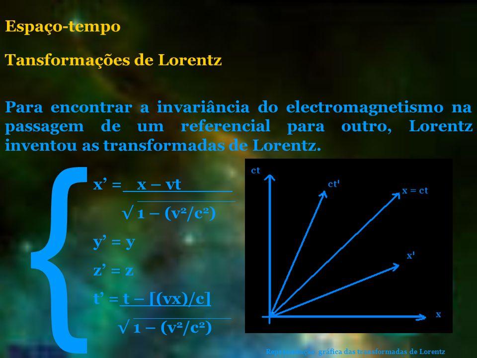 { Espaço-tempo Tansformações de Lorentz