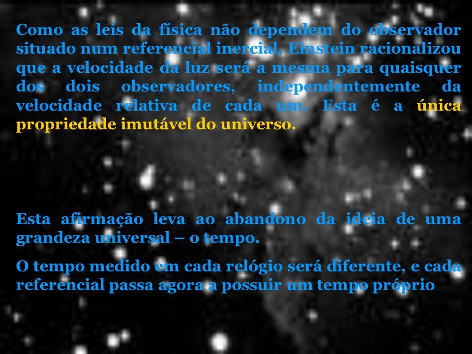 Como as leis da física não dependem do observador situado num referencial inercial, Einstein racionalizou que a velocidade da luz será a mesma para quaisquer dos dois observadores, independentemente da velocidade relativa de cada um. Esta é a única propriedade imutável do universo.