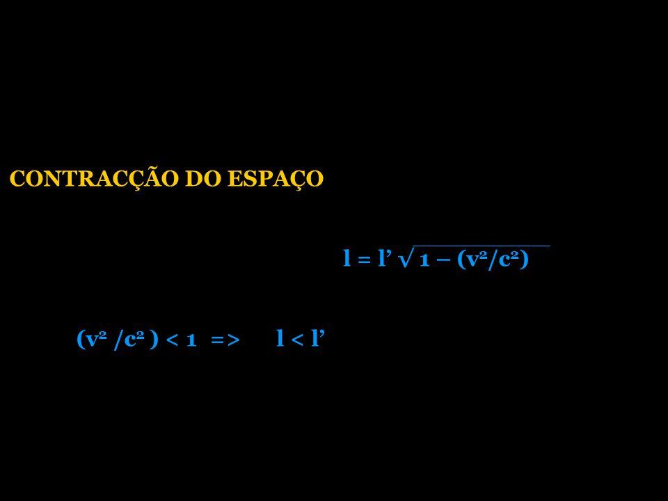 CONTRACÇÃO DO ESPAÇO l = l' √ 1 – (v2/c2) (v2 /c2 ) < 1 => l < l'