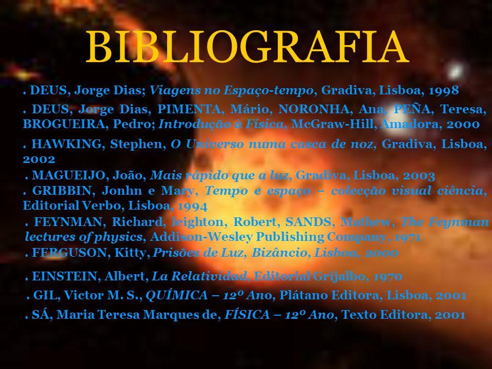BIBLIOGRAFIA . DEUS, Jorge Dias; Viagens no Espaço-tempo, Gradiva, Lisboa, 1998.