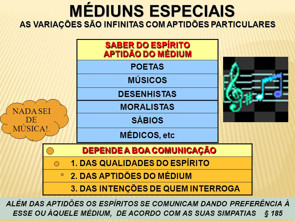 MÉDIUNS ESPECIAIS AS VARIAÇÕES SÃO INFINITAS COM APTIDÕES PARTICULARES