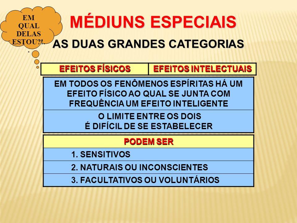 MÉDIUNS ESPECIAIS AS DUAS GRANDES CATEGORIAS