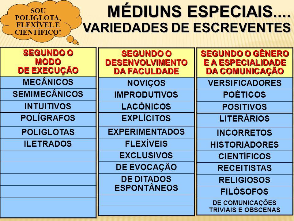MÉDIUNS ESPECIAIS.... VARIEDADES DE ESCREVENTES