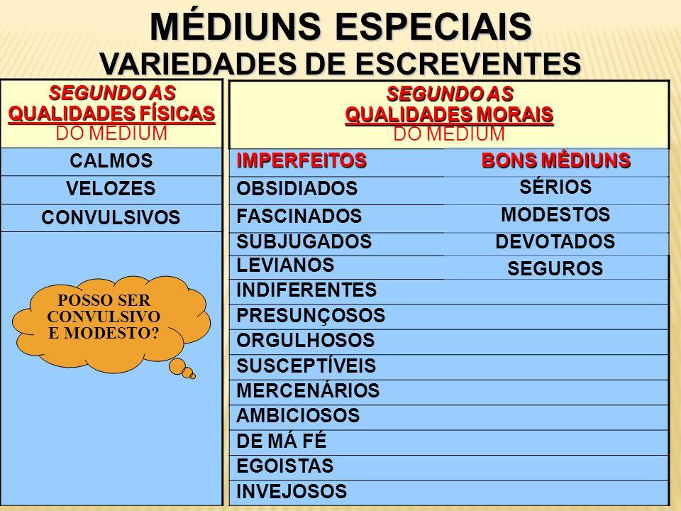 MÉDIUNS ESPECIAIS VARIEDADES DE ESCREVENTES