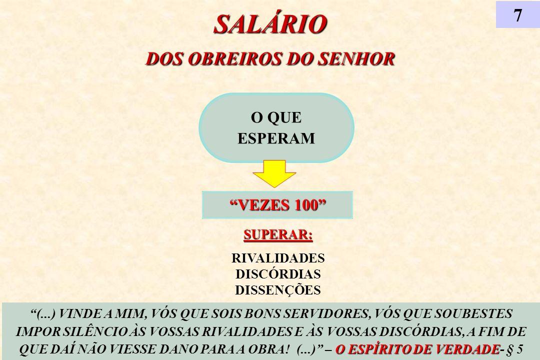 SALÁRIO DOS OBREIROS DO SENHOR RIVALIDADES DISCÓRDIAS DISSENÇÕES