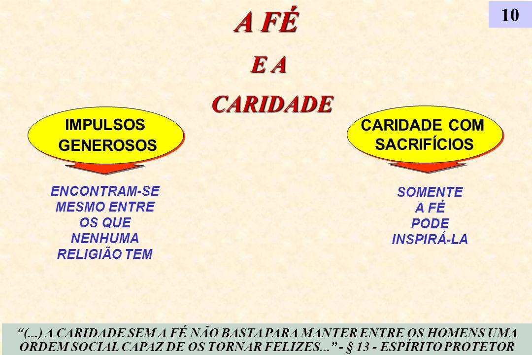 A FÉ E A CARIDADE 10 IMPULSOS GENEROSOS CARIDADE COM SACRIFÍCIOS