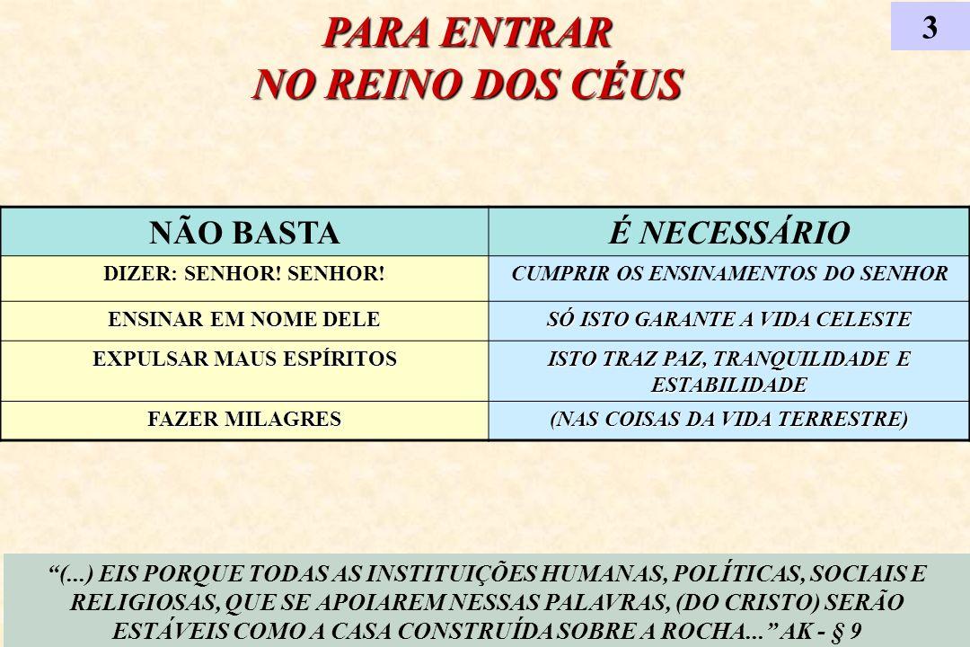 PARA ENTRAR NO REINO DOS CÉUS