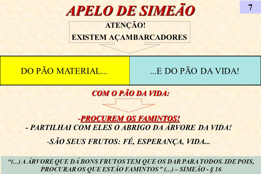 APELO DE SIMEÃO 7 DO PÃO MATERIAL... ...E DO PÃO DA VIDA! ATENÇÃO!