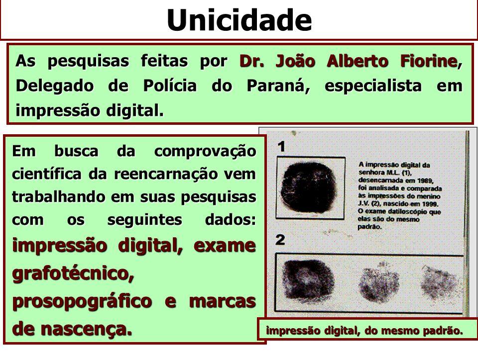 Unicidade As pesquisas feitas por Dr. João Alberto Fiorine, Delegado de Polícia do Paraná, especialista em impressão digital.