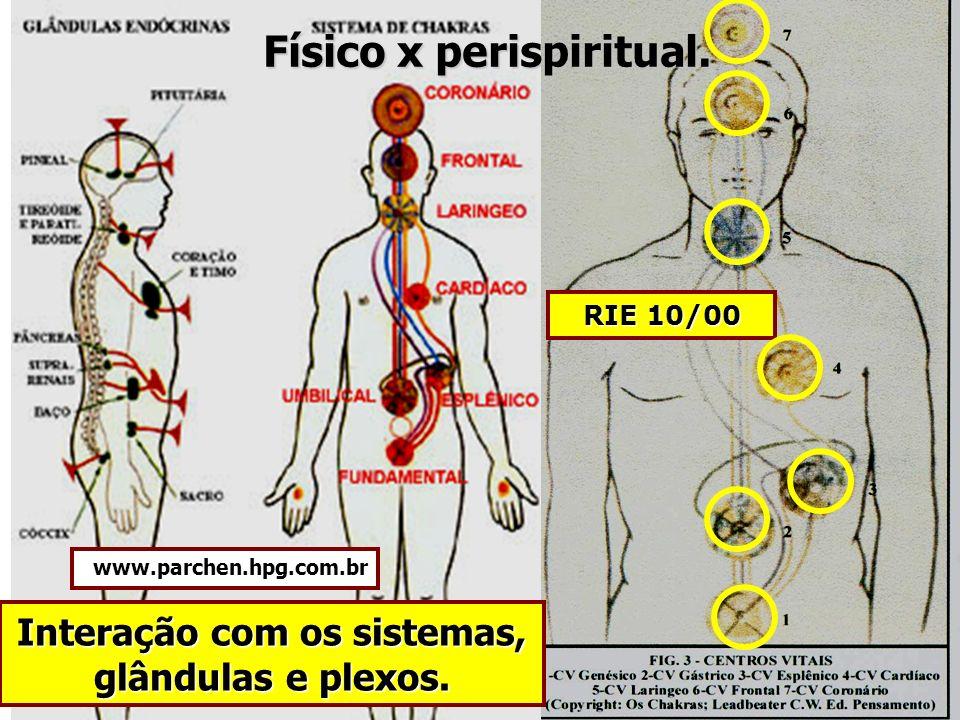 Físico x perispiritual. Interação com os sistemas, glândulas e plexos.
