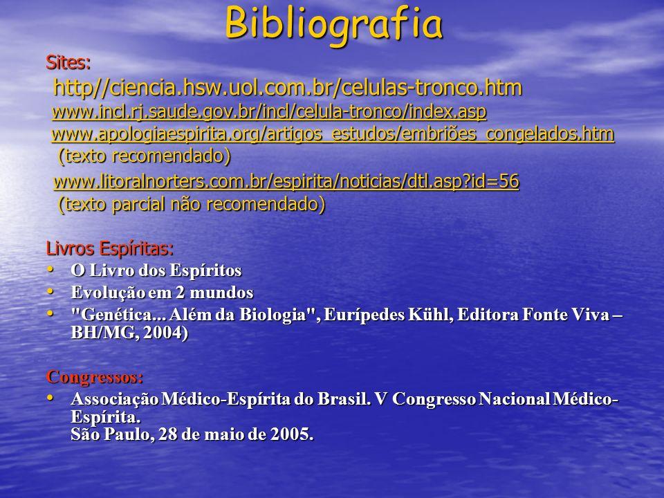 Bibliografia http//ciencia.hsw.uol.com.br/celulas-tronco.htm