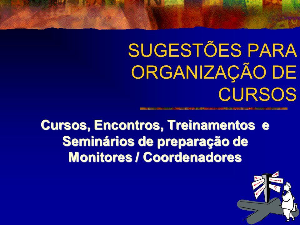 SUGESTÕES PARA ORGANIZAÇÃO DE CURSOS