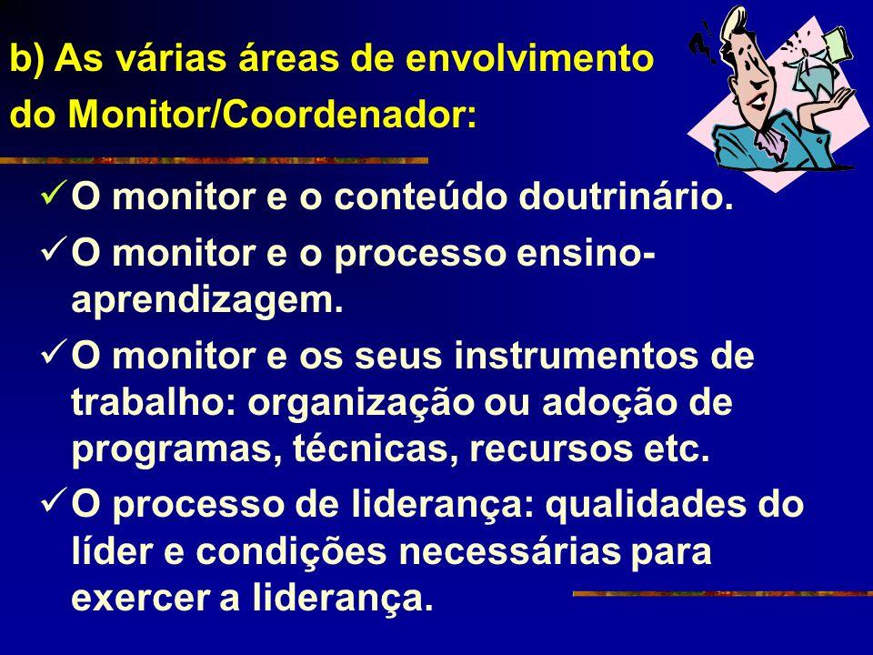 b) As várias áreas de envolvimento