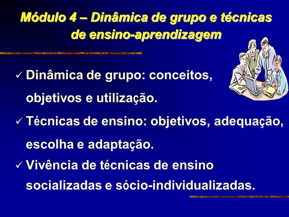 Módulo 4 – Dinâmica de grupo e técnicas de ensino-aprendizagem